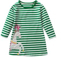 Girls Kids Embroidery Horse Cute Stripe Dresses Long Sleeve Cotton Tops(6T)